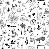 Seamless pattern of random items