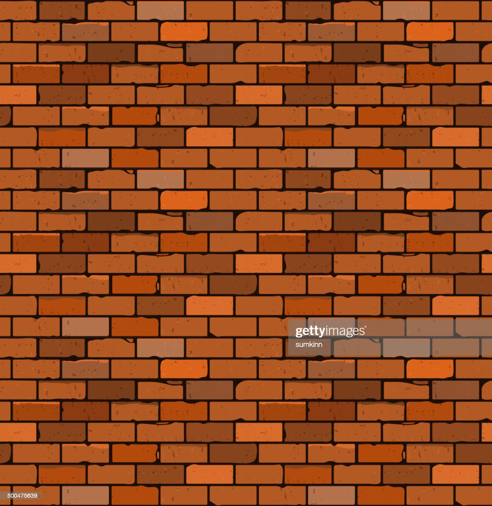 Seamless pattern of red brick with cracks and irregularities.