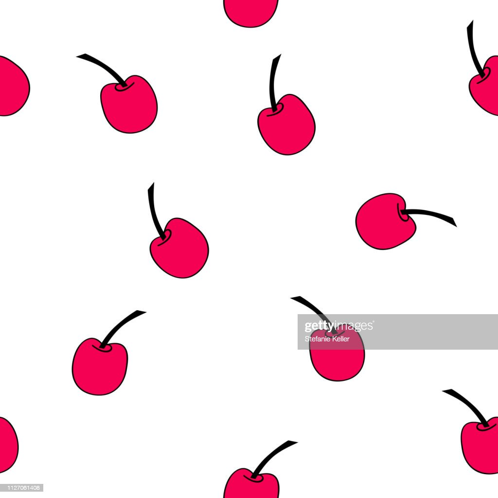 Seamless pattern of red cherries.