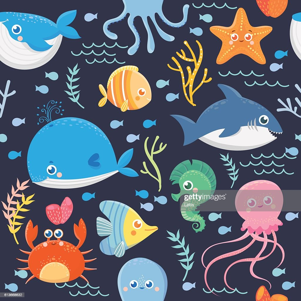 Seamless pattern of sea life