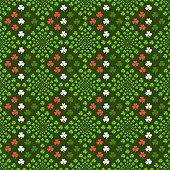 Seamless pattern of shamrock leaves.