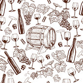 Seamless pattern of sketch wine icons