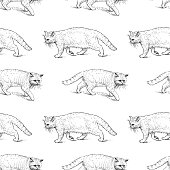 Seamless pattern of sketches of old strolling cats