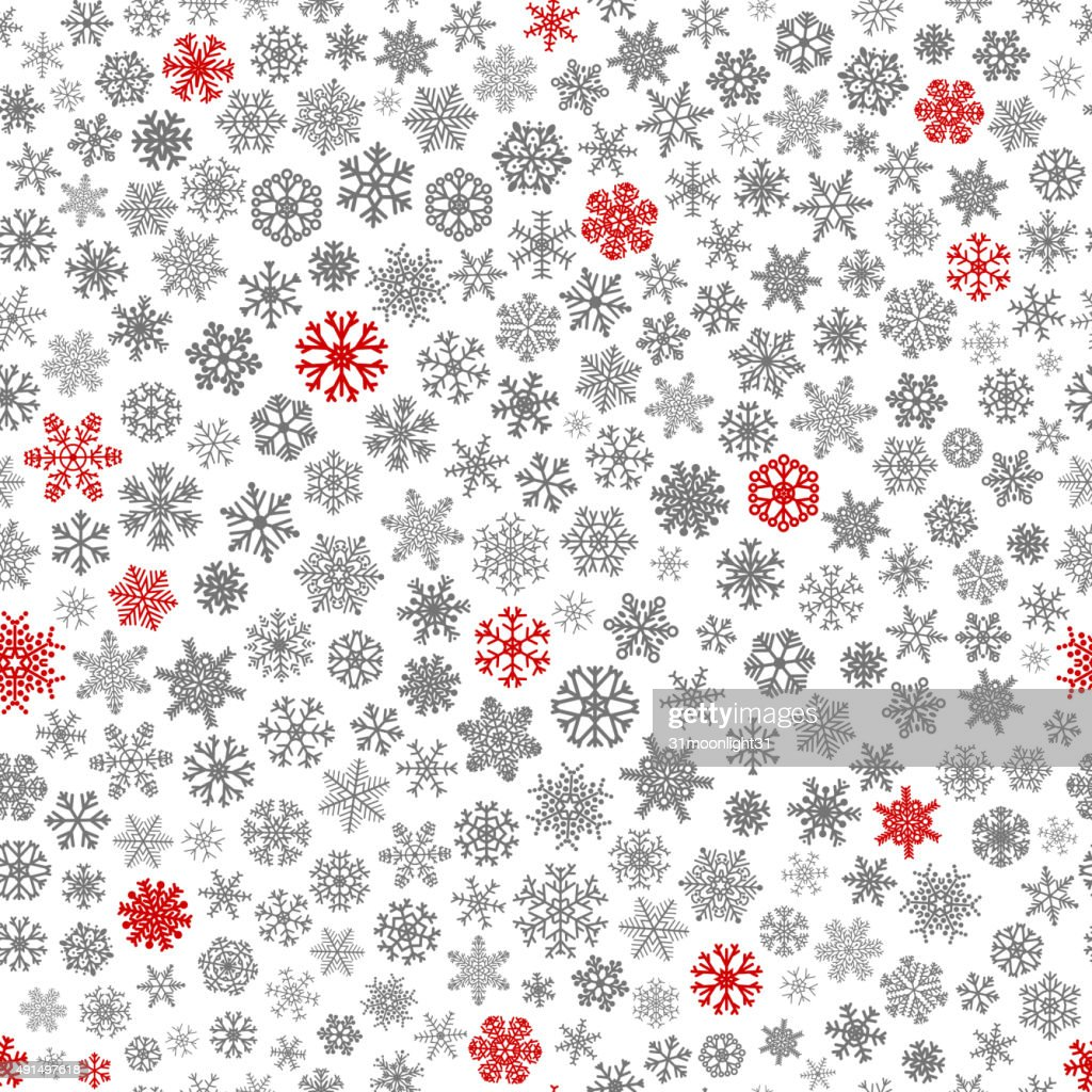 Seamless pattern of snowflakes, red and gray on white