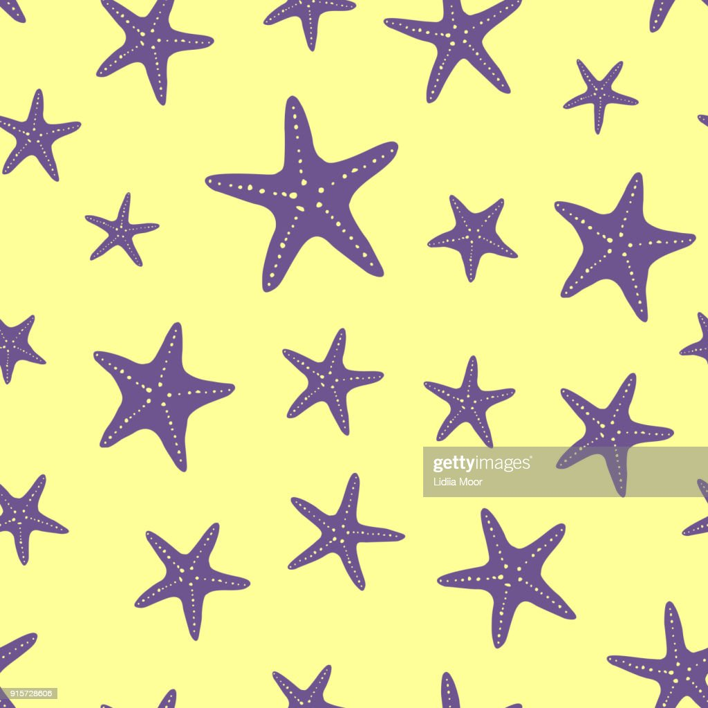 seamless pattern of starfish on the sand