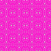 Seamless pattern of stars and geometric shapes in white and purple colors on pink (magenta) background. Flat design vector illustration, EPS10.