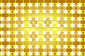 Seamless pattern of stars and round shapes in brown, yellow, white colors with shadow, paper art style, gold background.