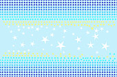 Seamless pattern of stars shapes in blue, white, yellow colors on light sky blue background, pastel color. Flat design vector illustration, EPS10.