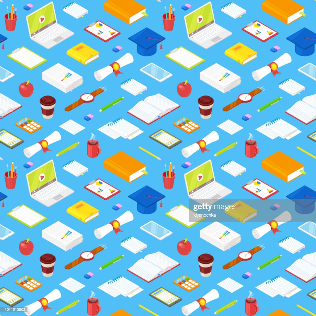 Seamless pattern of student accsessories