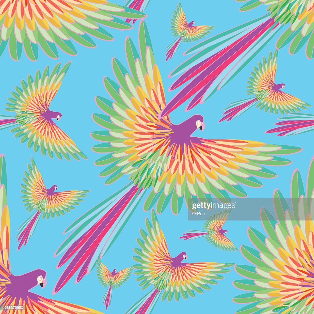 seamless pattern of the Caribbean parrot flying on a background