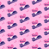 Seamless pattern of the hand-drawn lettering, dark blue strokes and pink hearts. Je t'aime calligraphy. Vector illustration.