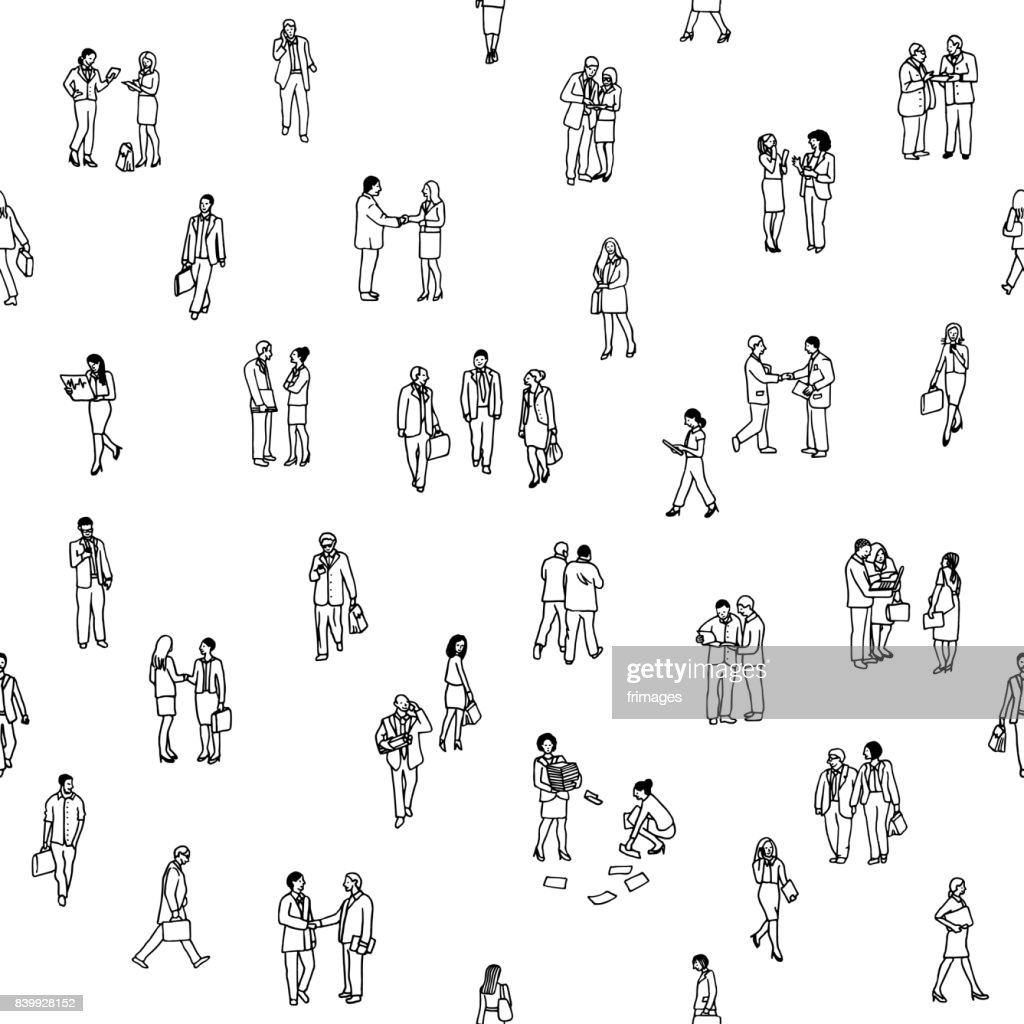 Seamless pattern of tiny business people