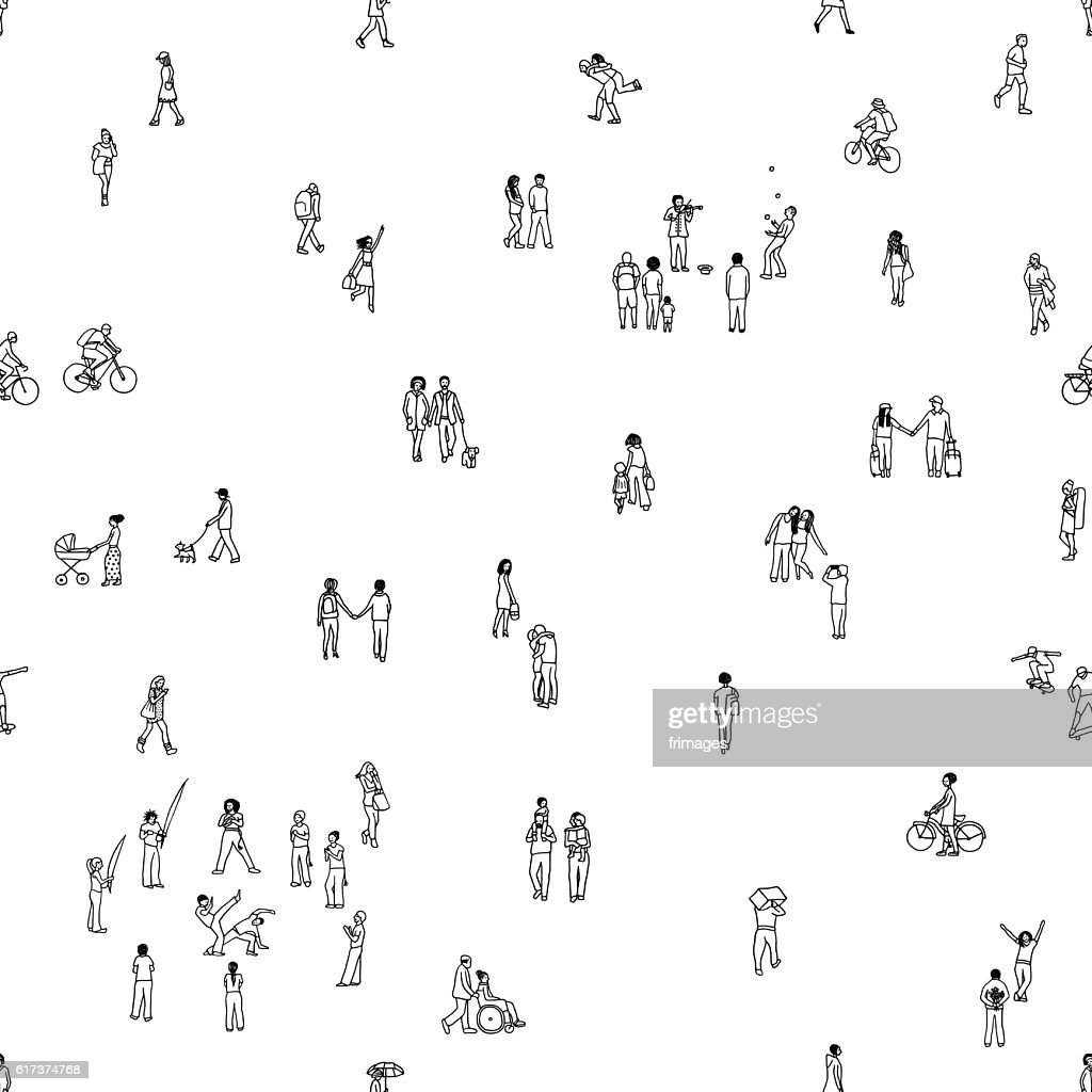 Seamless pattern of tiny people