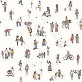 Seamless pattern of tiny people