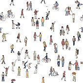 Seamless pattern of tiny people, white background