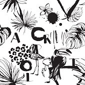 Seamless pattern of Tropical birds, palms, flowers and letters.