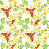 seamless pattern of tropical fruit watermelon, orange, kiwi, gra