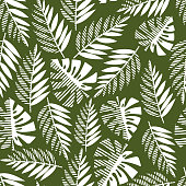 Seamless pattern of tropical leaves, vector illustration leafs of areca palm, philodendron, monstera, fern