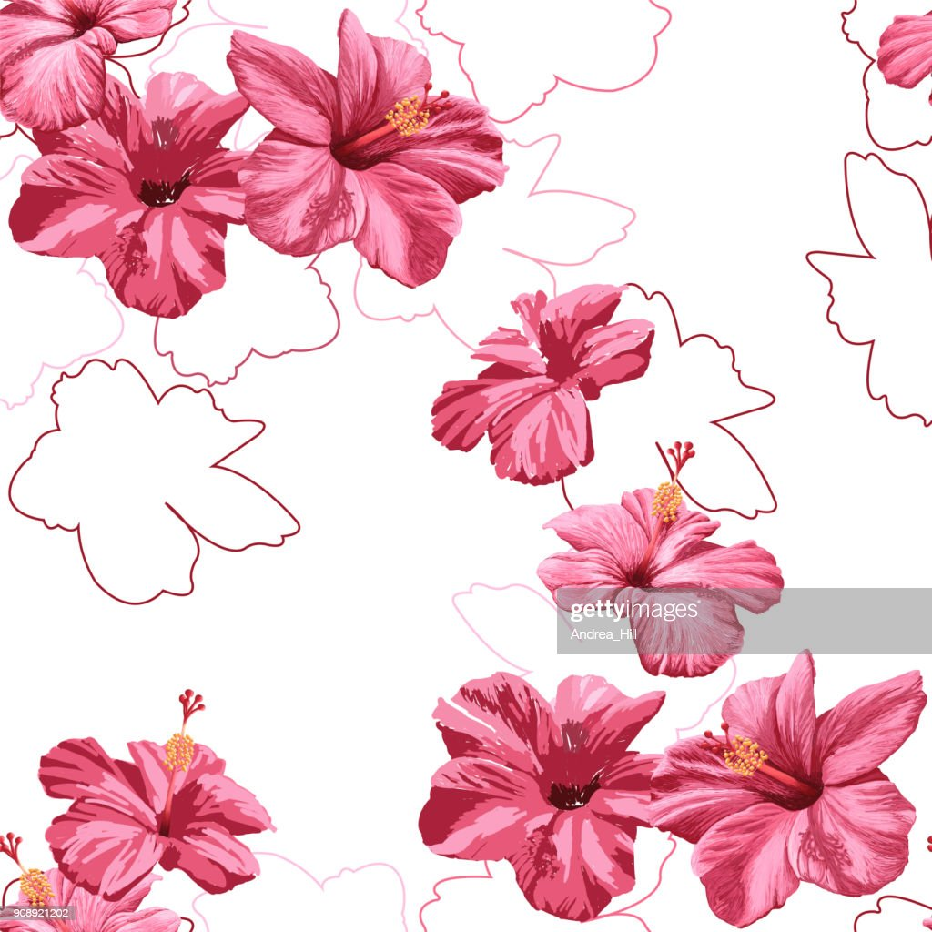 Seamless pattern of vector hibiscus flowers vector art getty images seamless pattern of vector hibiscus flowers vector art izmirmasajfo