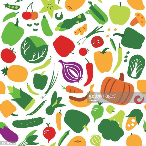 Seamless pattern of vegetables and fruit. vector illustration background
