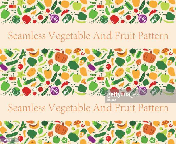 seamless pattern of vegetables and fruit. vector illustration - pepper vegetable stock illustrations