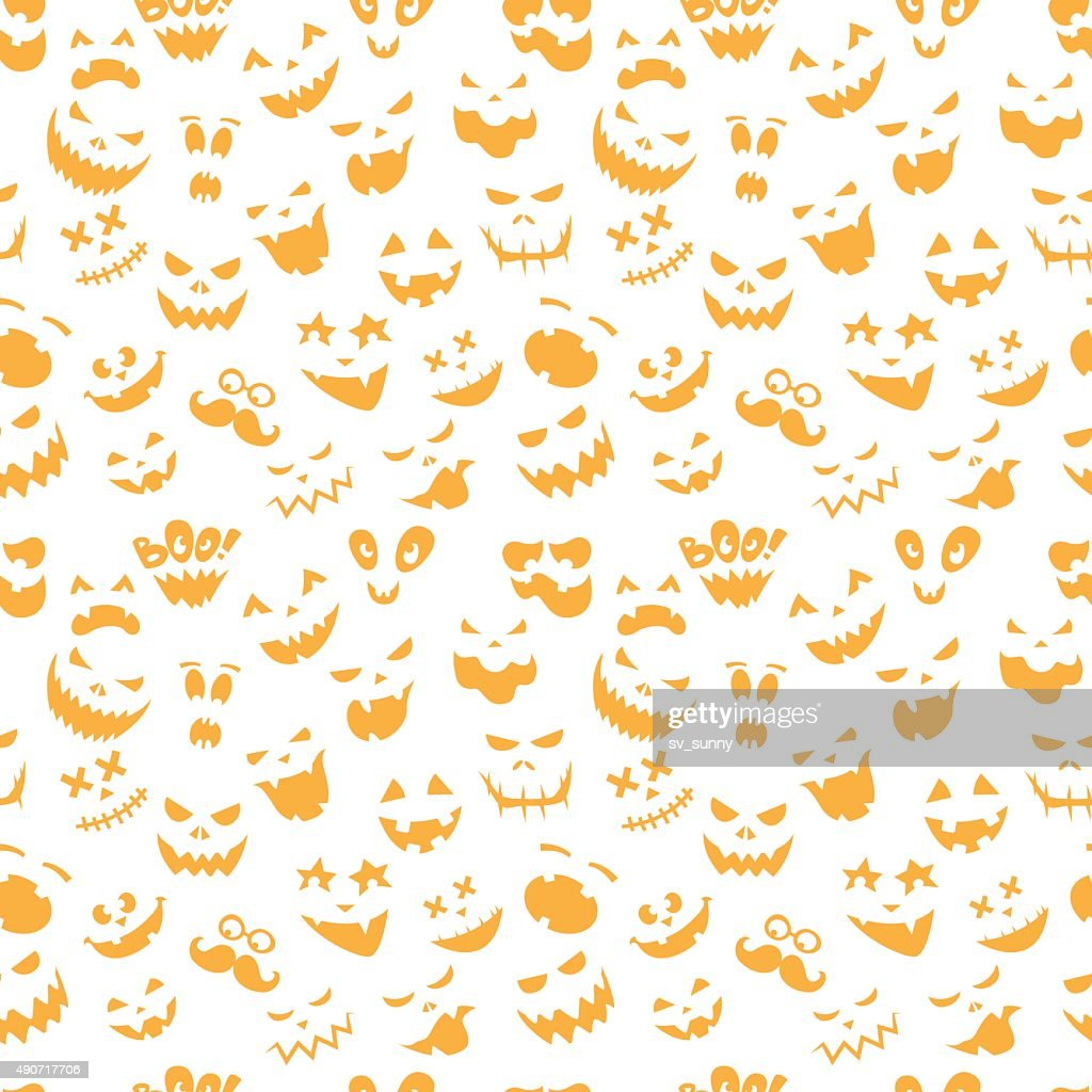 Seamless pattern Of Vintage Happy Halloween flat  emotocons.