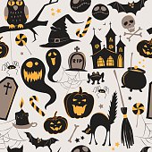 Seamless pattern Of Vintage Happy Halloween flat  icons. Hallowe