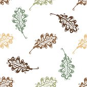 Seamless pattern of vintage oak leaves.