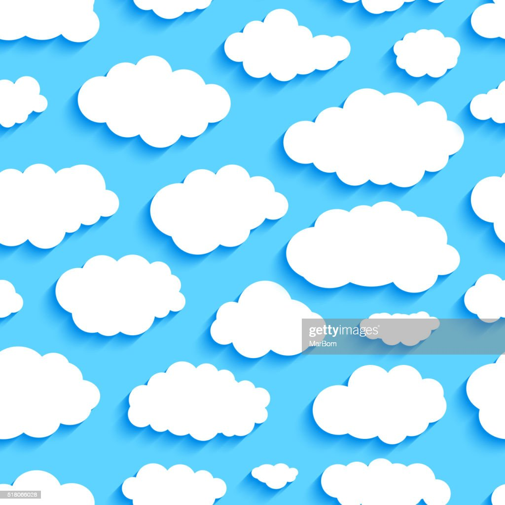 Seamless pattern of white clouds on blue sky