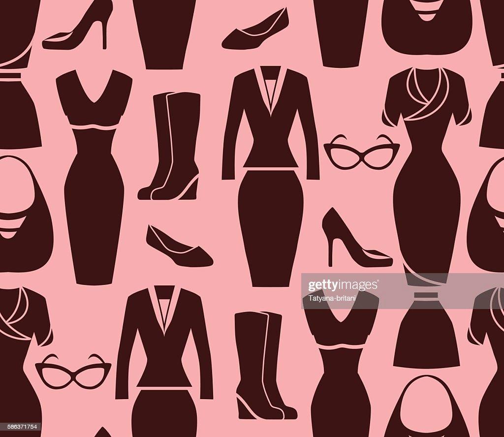 Seamless pattern of women's clothing