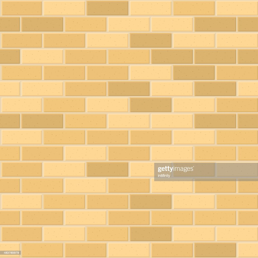 Seamless Pattern of Yellow Brick with Light Seam. Vector