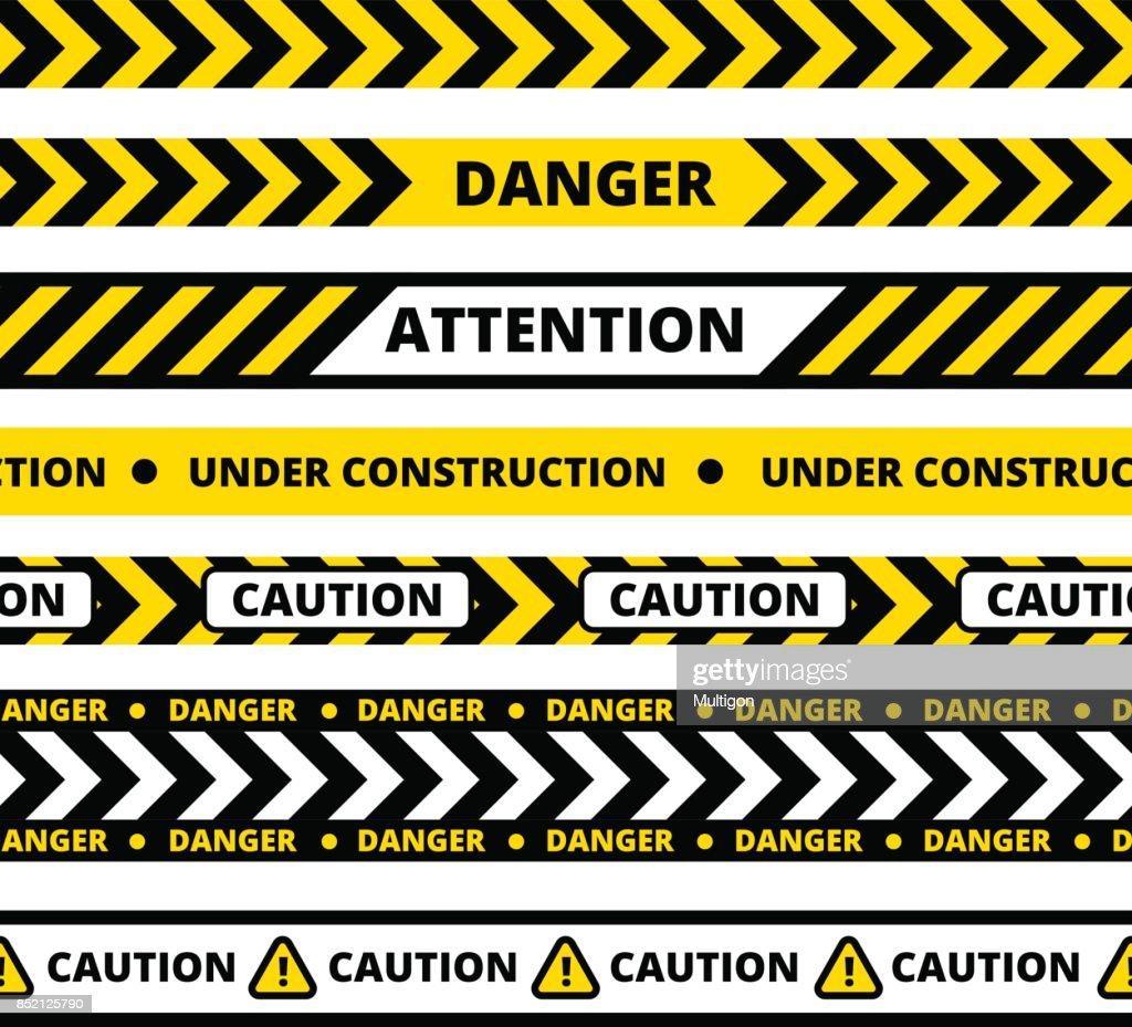 Seamless pattern of yellow danger tape