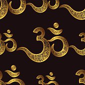 Seamless pattern Om or Aum Indian sacred sound, original mantra,