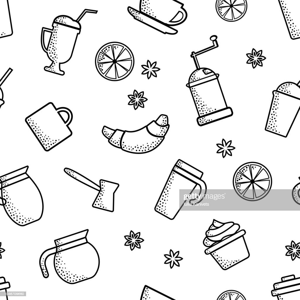 Seamless pattern on coffee theme. Outline design. Black objects on white background. Vector illustration
