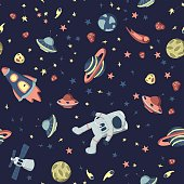 Seamless pattern on the theme of space. Astronaut in open cosmos, space ships and a set of various planets, stars and asteroids. Vector illustration.