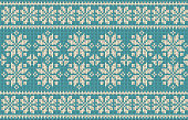Seamless pattern on the theme of the winter holidays with a picture of the Norwegian patterns and snowflakes. Wool knitted texture. Vector Illustration