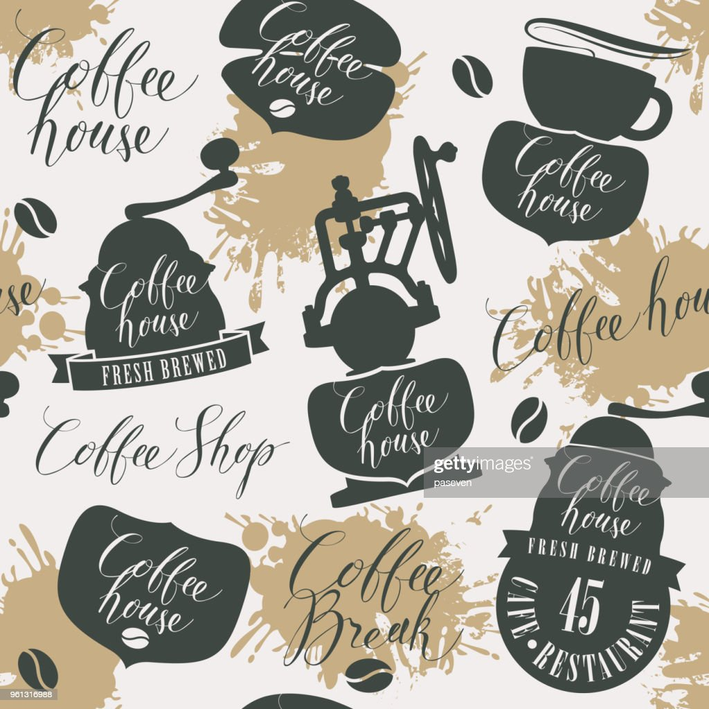 Seamless pattern on theme of coffee house