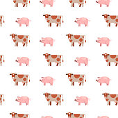 Seamless pattern on white background. Cute cows and pigs. Farm healthy foods. Meat and milk.