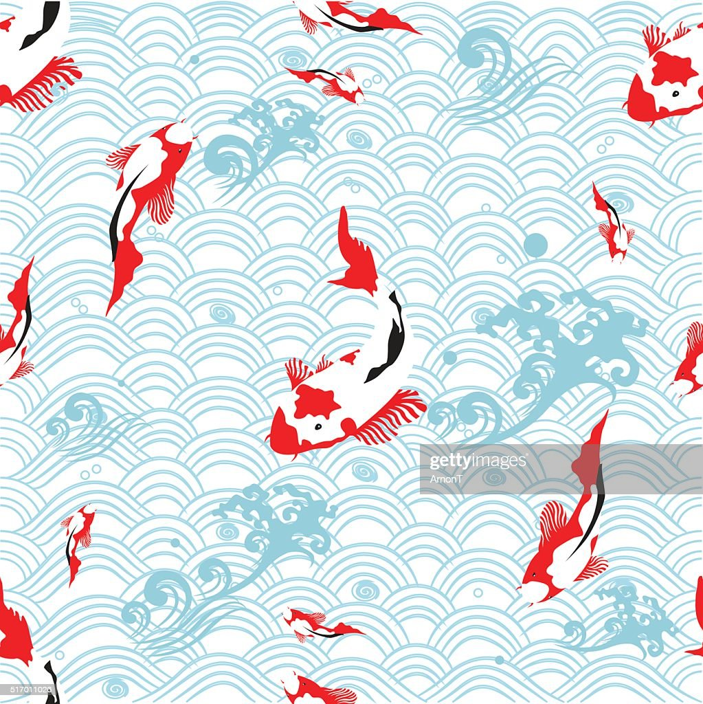 Seamless pattern oriental texture with koi carp