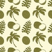 Seamless pattern palm trees, coconuts