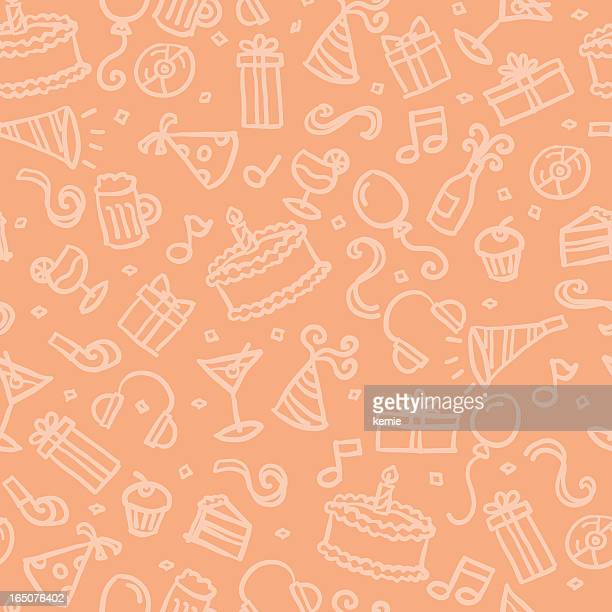 seamless pattern: party - birthday cake stock illustrations, clip art, cartoons, & icons