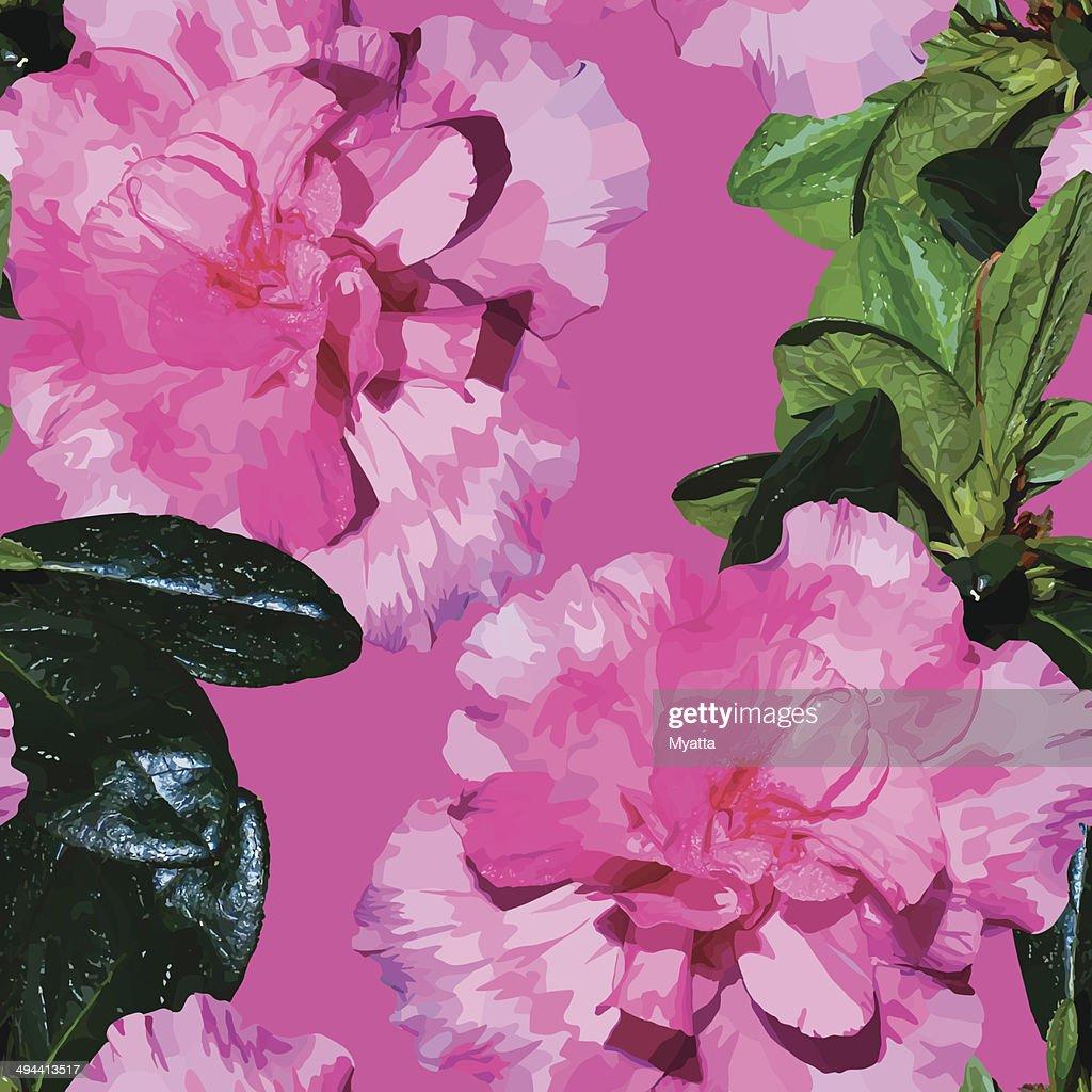Seamless pattern realistic flowers azalea