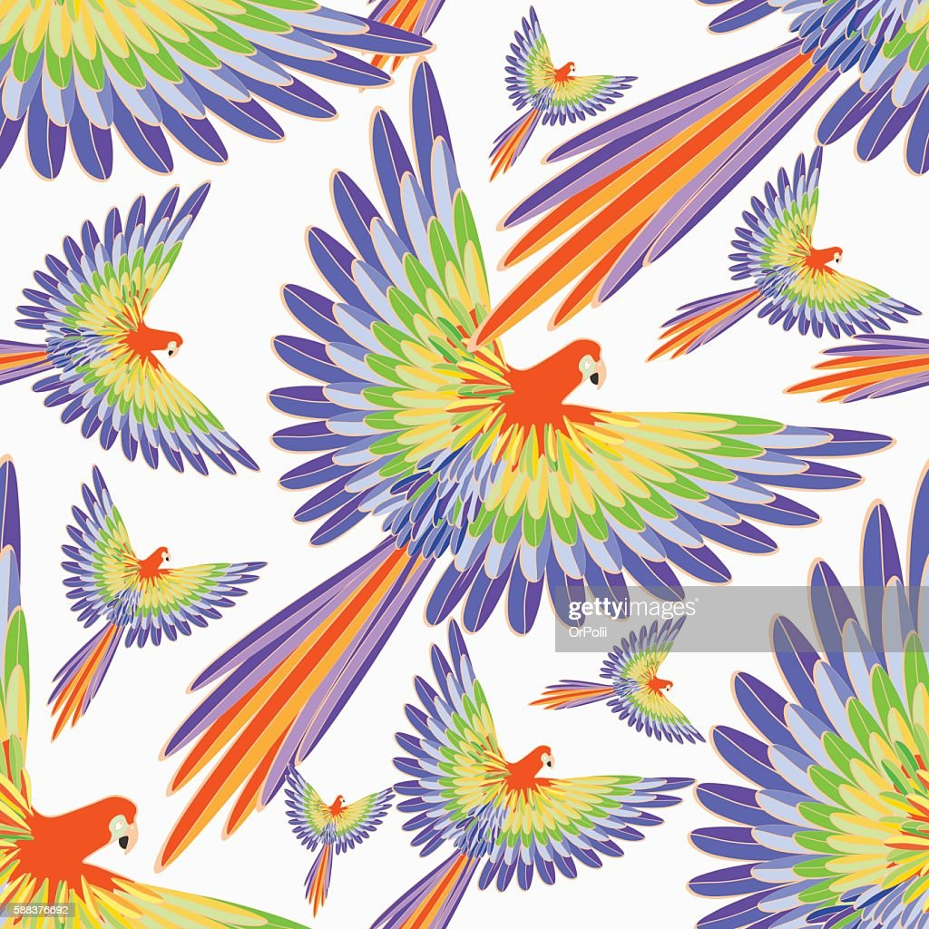 seamless pattern Red the Caribbean parrot flying. vector illustr