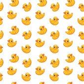 seamless pattern rubber duck toy, vector illustration, cartoon