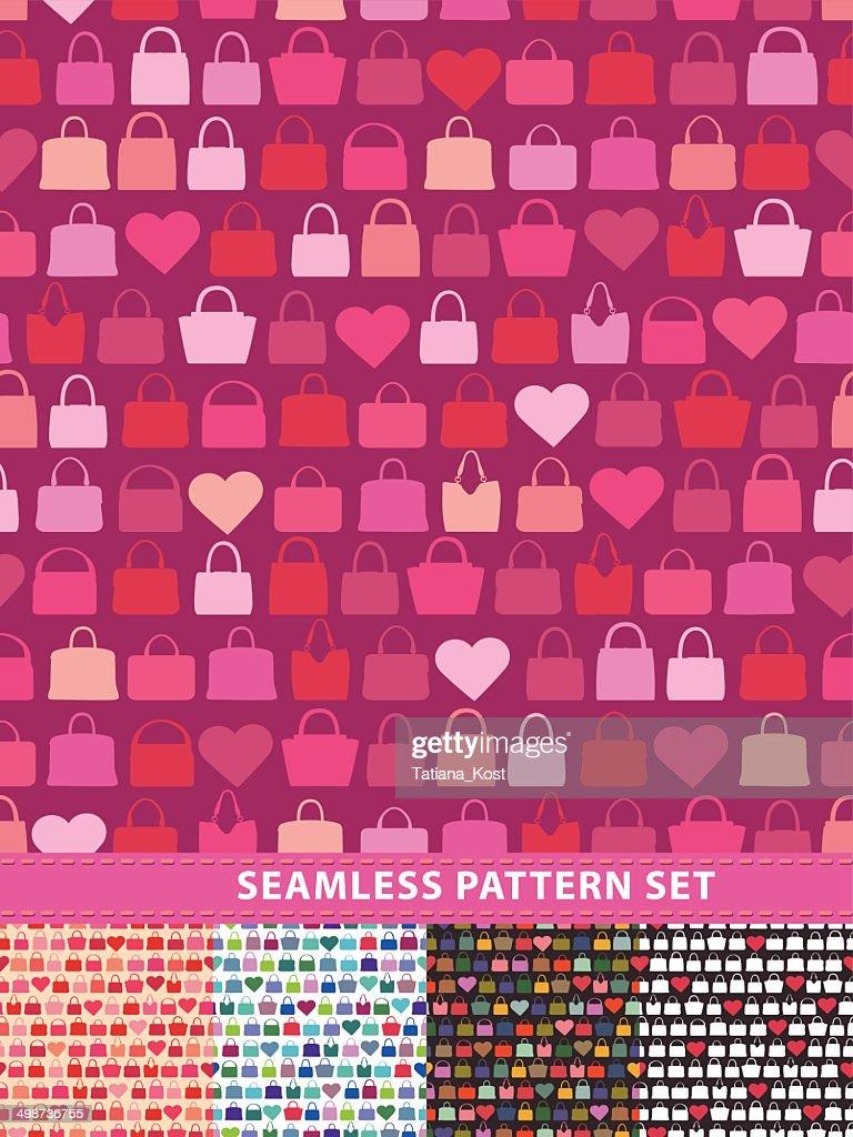 Seamless pattern set. Colorful handbags and hearts