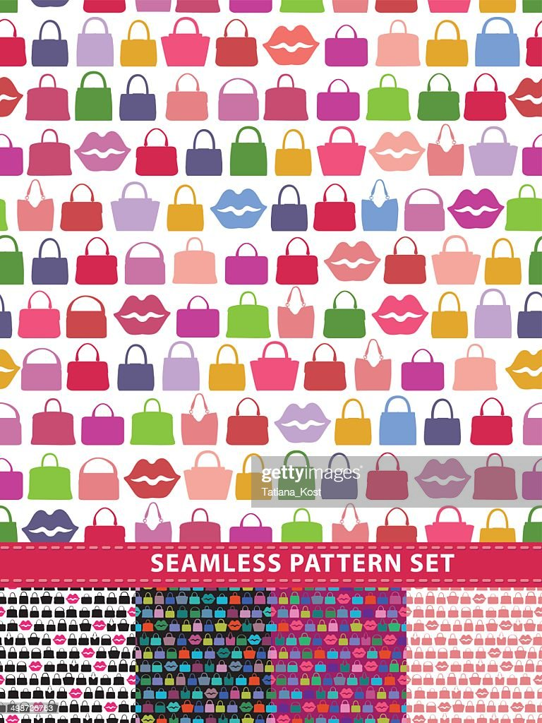 Seamless pattern set. Colorful handbags and lips