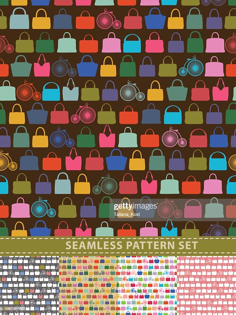 Seamless pattern set. Colorful handbags and retro bicycle