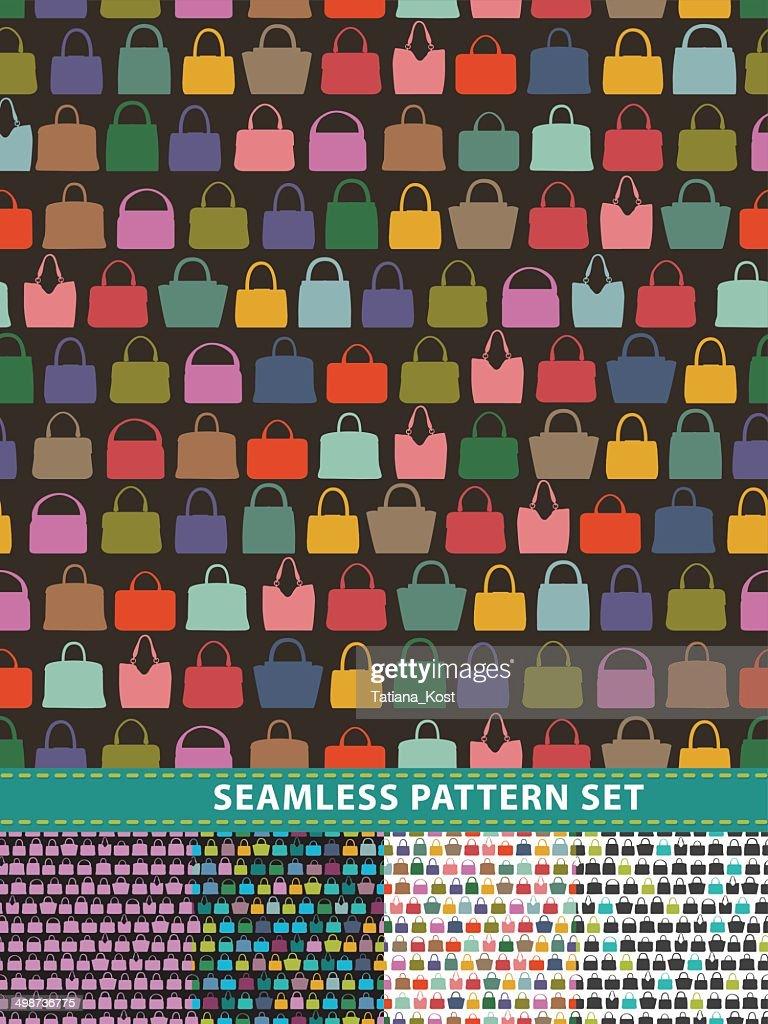 Seamless pattern set. Colorful handbags