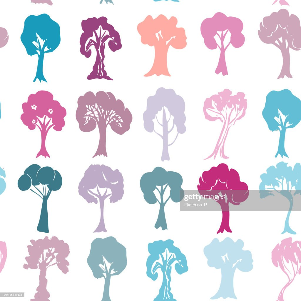Seamless pattern Set of violet purple blue pink trees silhouettes isolated on white background. Vector