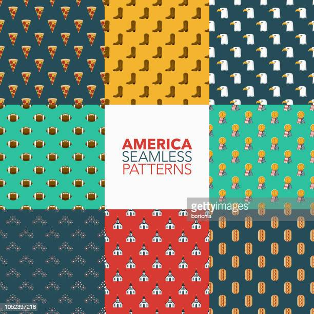 usa seamless pattern set - independence day stock illustrations, clip art, cartoons, & icons